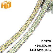 LED قطاع 2835 480 المصابيح/m 240 المصابيح/m DC12V عالية السطوع 2835 مرنة مصباح ليد الدافئة الأبيض/الأبيض 5 متر/وحدة