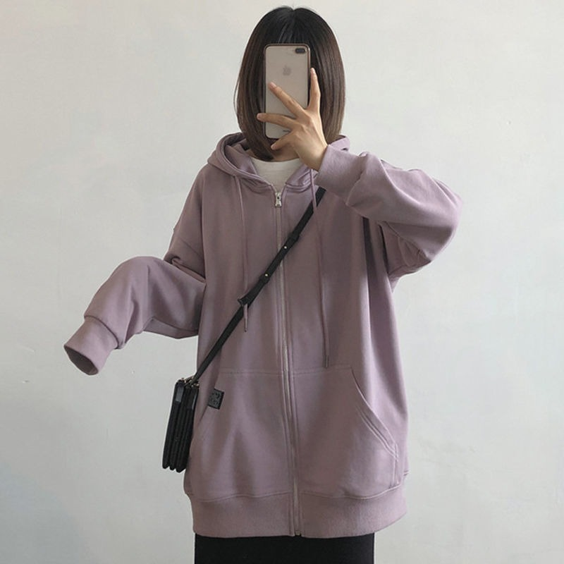Harajuku with hat hoodies women zipper kangaroo pocket casual loose solid color sweatshirt female 2020 fashion new female tops 6