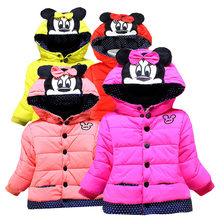 Girl clothes winter Thicken and keep warm cotton coat cartoon Mickey Minnie embroidery hooded jacket 2-4 y baby quality clothing(China)