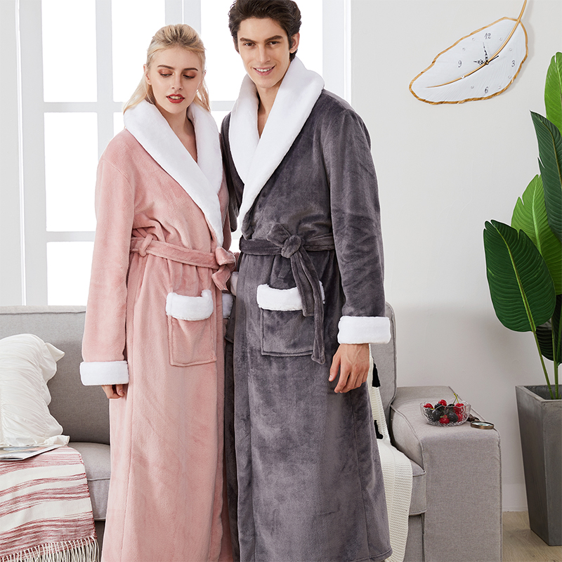 2019 New Male Winter Robe Super Thick Warm Flannel Long Bathrobe For Men Women Couple Large Lapel Home Dressing Gown Tmall Brand