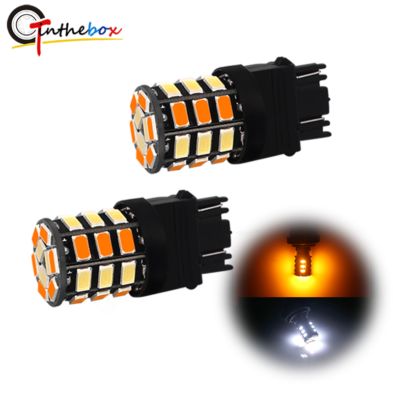 GTinthebox 2PCS Switchback White/Amber <font><b>T25</b></font> 3157 P27/5W P27/7W <font><b>LED</b></font> Bulbs For Driving/Parking DRL Light Front Turn Signal Light image