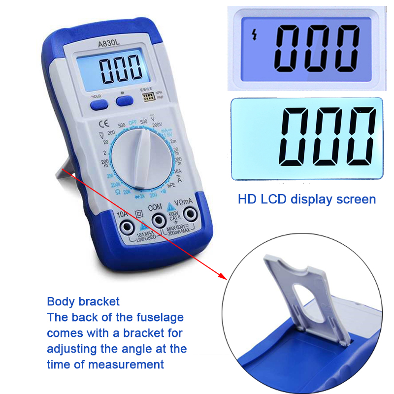 Image 5 - A830L LCD Digital Multimeter AC DC Voltage Diode Freguency Handheld Multitester Current Tester Luminous Display Buzzer Functions-in Multimeters from Tools