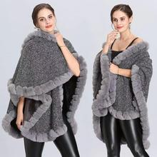 Autumn Winter Fashion Long Sweater Women Imitation Fox Fur Collar Knitted Poncho Cardigan Lady Wool Coat warm shawl cape