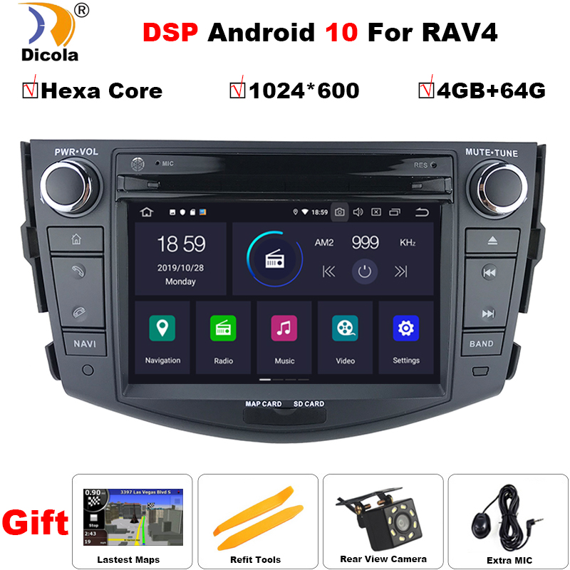 PX6 DSP Android 10 Car Multimedia Player Car DVD GPS For Toyota RAV4 RAV 4 2006-2012 GPS Radio Navigation Mirror Link Head Unit image