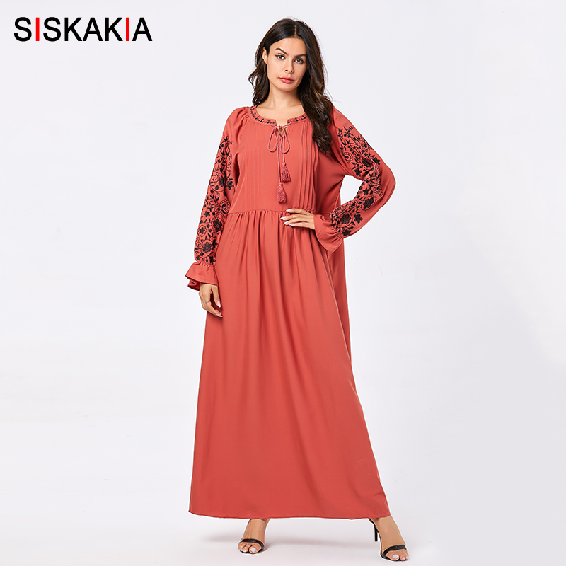 US $34.62 40% OFF|Siskakia Autumn Long Dress 2019 New Urban Casual Maxi  Dresses Orange Red Plus Size Floral Embroidery Muslim Arabian Clothes  4XL-in ...