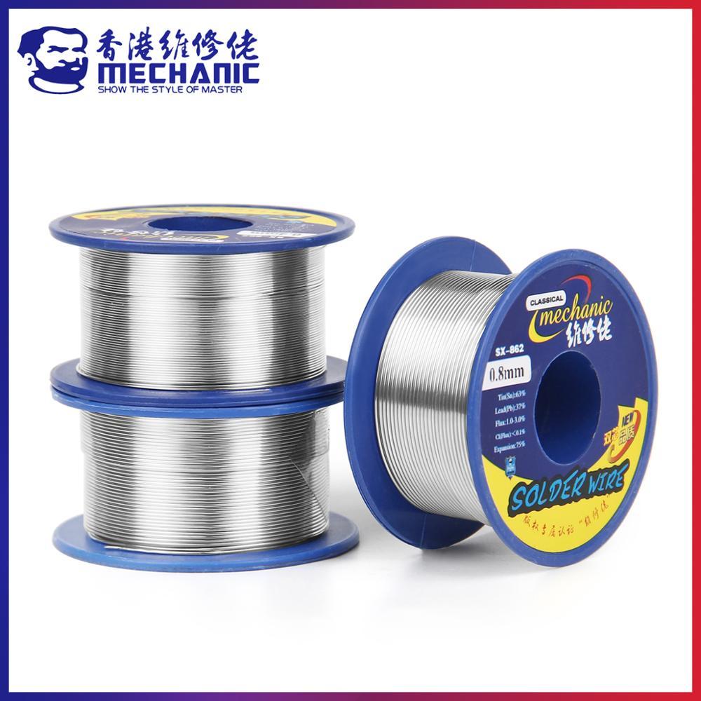 MECHANIC 60g 0.3/0.4/0.5/0.6/0.8/1.0/1.2mm 63/37 Rosin Core Tin Lead 183℃ Melt Solder Wire Welding Flux 1.0-3.0% Iron Cable Reel