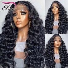 Onda profunda do corpo do laço frente perucas de cabelo humano pré arrancadas peruano remy cabelo 360 perucas frontais para as mulheres descorados nós elva peruca de cabelo
