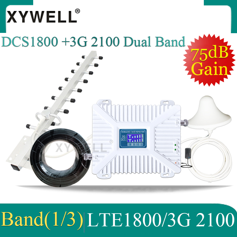 New!Dual-Band 1800 2100mhz 3G 4G Cellular Amplifier DCS WCDMA LTE GSM Repeater 2G 3G 4G Mobile Signal Booster 3G 4G Yagi Antenna