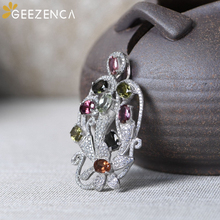 Vintage 925 Sterling Silver Natural Tourmaline Flower Pendants Fine Jewelry For Women Original Design Pendant Without Chain Gift