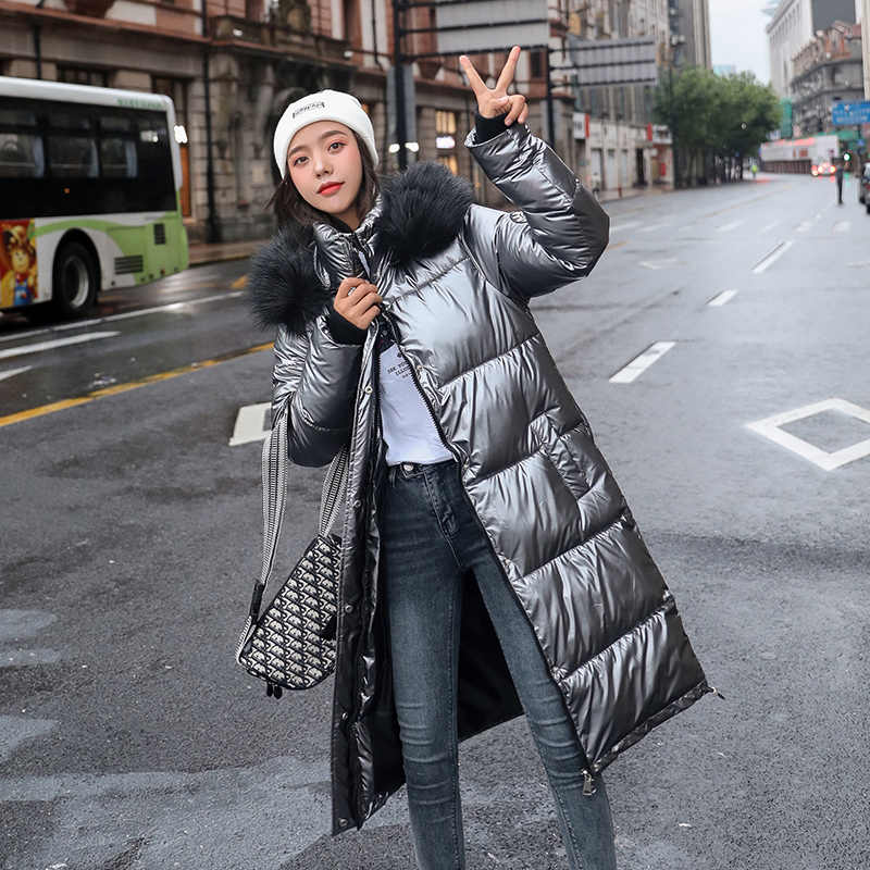 New Women Long Coat Parkas Female Glossy Winter Warm Thicken Faux Fur Coats Silver Down Jacket Parker Jacket Coat