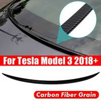 NEW 1 Pcs Carbon Fiber Style Trunk Spoiler Cover Trim Water Retaining Wing For Tesla Model 3 2018+