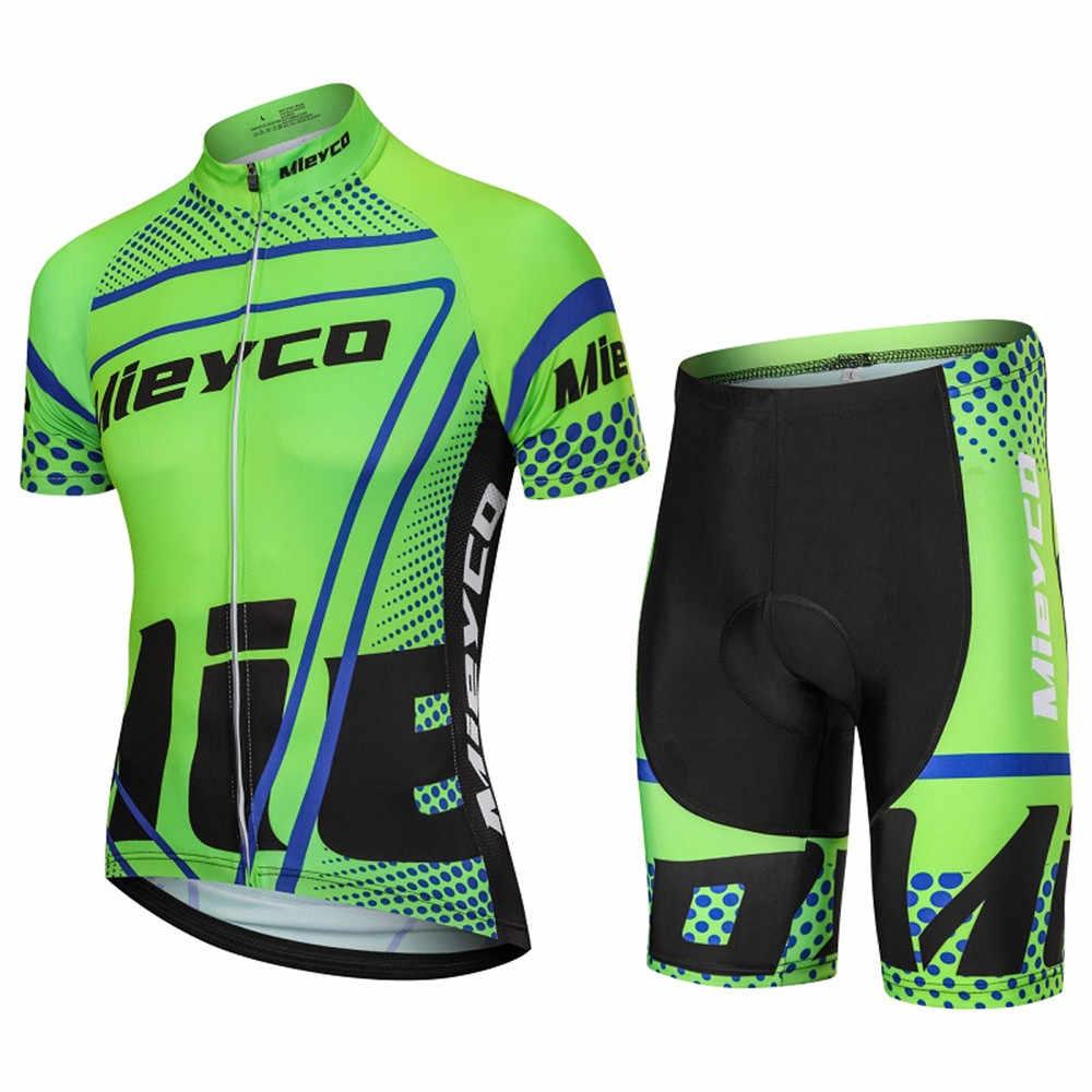 Zestawy rowerowe z krótkim rękawem mężczyźni oddychająca Mieyco Pro Team odzież kolarska Mtb Jersey męskie kolarstwo odzież sportowa ubrania do jazdy rowerem