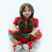 24inch Reborn Realistic Reborn Baby Silicone Vinyl Doll for Newborn Baby And Girl Playmate Plush Toy With Long Wavy Hair clothes