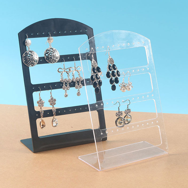48 Holes Jewelry Organizer Stand Black White Plastic Earring Holder For Women Pesentoir Fashion Earrings Display Rack Etagere