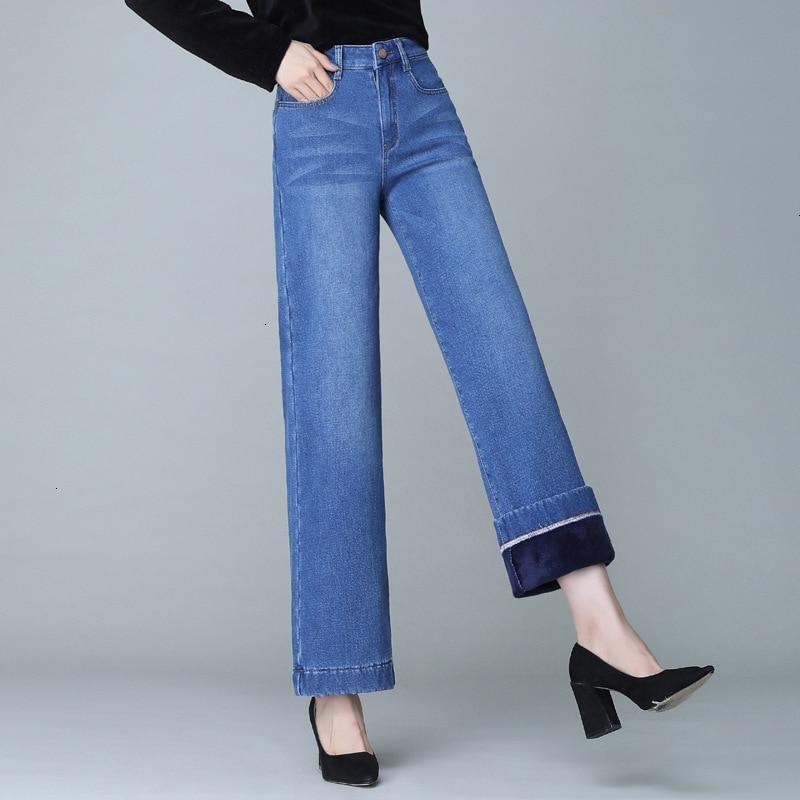 Boyfriend Warm Jeans For Women Casual Wide Leg Blue High Waist Jeans Plus Velvet Denim Pants Trousers Loose Winter Jeans Mujer
