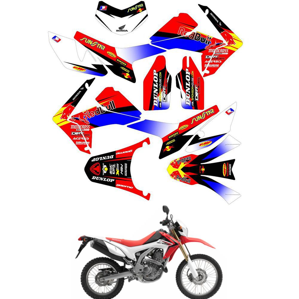 For HONDA CRF250L 2012 2013 2014 2015 2016 2017 Customized Number Graphics Backgrounds Stickers Kit Decal