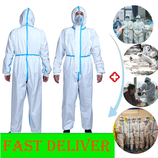 Professional PPE Suit Coverall Hazmat Suit Disposable Anti-Virus Protective Clothing Disposable Factory Hospital Safety Clothing 1