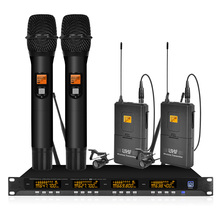 Orban 4-channel UHF wireless microphone system with 2 handheld and 2 lavalier microphones for church family performances high end uhf 8x50 channel goose neck desk wireless conference microphones system for meeting room
