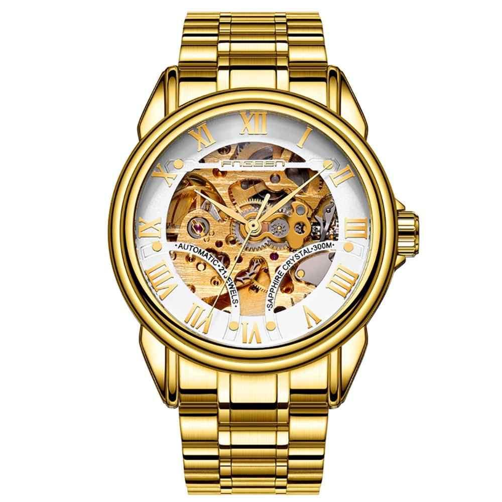 Lange Lebensdauer Mode Luxus Lässig Leben Wasserdicht Edelstahl Uhr Automatische Mechanische Männer Uhr montre homme 2019 # D