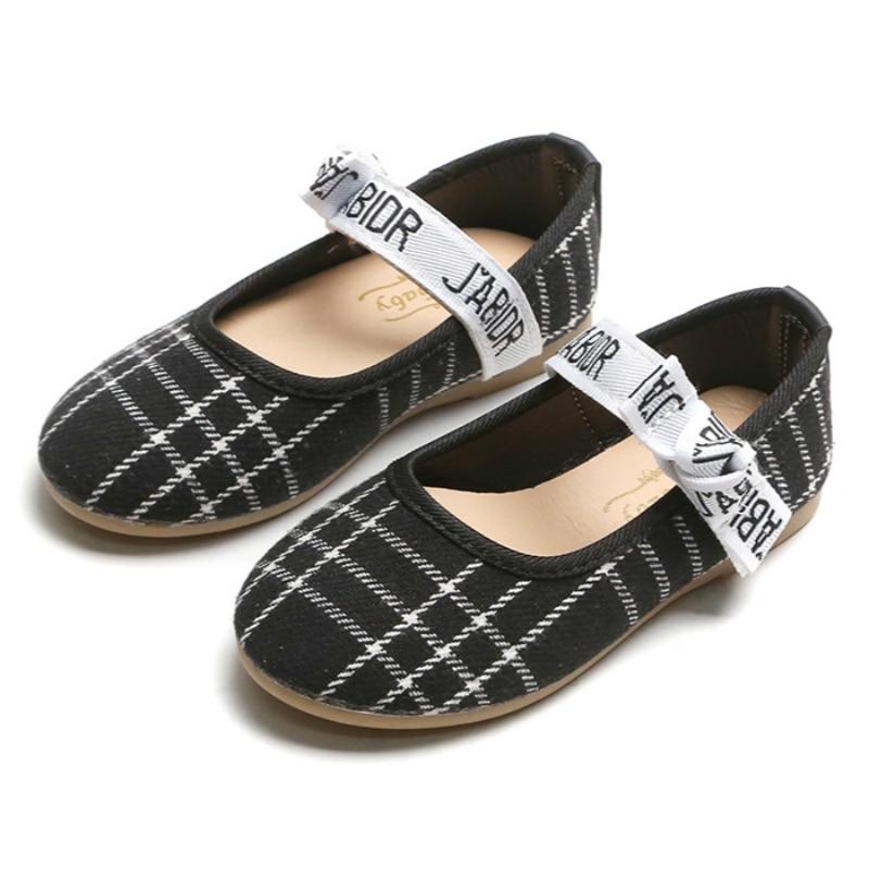 Anne ve Çocuk'ten Tenis Ayakk.'de Ayakkabı çocuklar için eğlence Flats prenses ekose desen yumuşak dans ayakkabıları bebek kızlar için siyah Euro boyutu 21 ~ 35 çocuk ayakkabıları title=