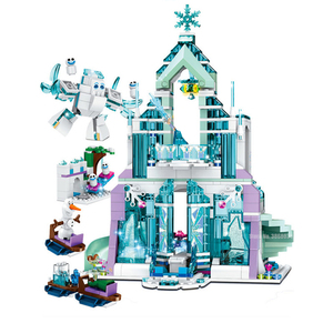 Nouveau en STOCK 848 pièces reine des neiges série le château de glace magique d'elsa princesse lepining amis blocs de construction briques fille jouets(China)