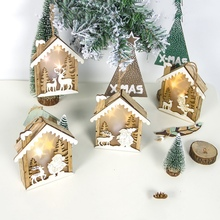 Christmas Tree Decorations Wooden Embellishment Hut With Light Hanging Ornaments  Holiday Gift