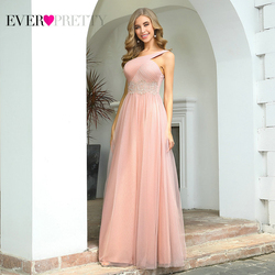 Pink Prom Dresses 2020 Ever Pretty EP00545 Women's Elegant A-line One Shoulder Ruched Bust Long Lace Wedding Party Dresses