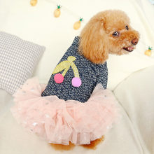 Cherry Dog Dress Autumn Winter Dogs Tutu Skirt roupa cachorro For Bichon Teddy Chihuahua Colorful Cat Puppy Dress XS S M L XL(China)