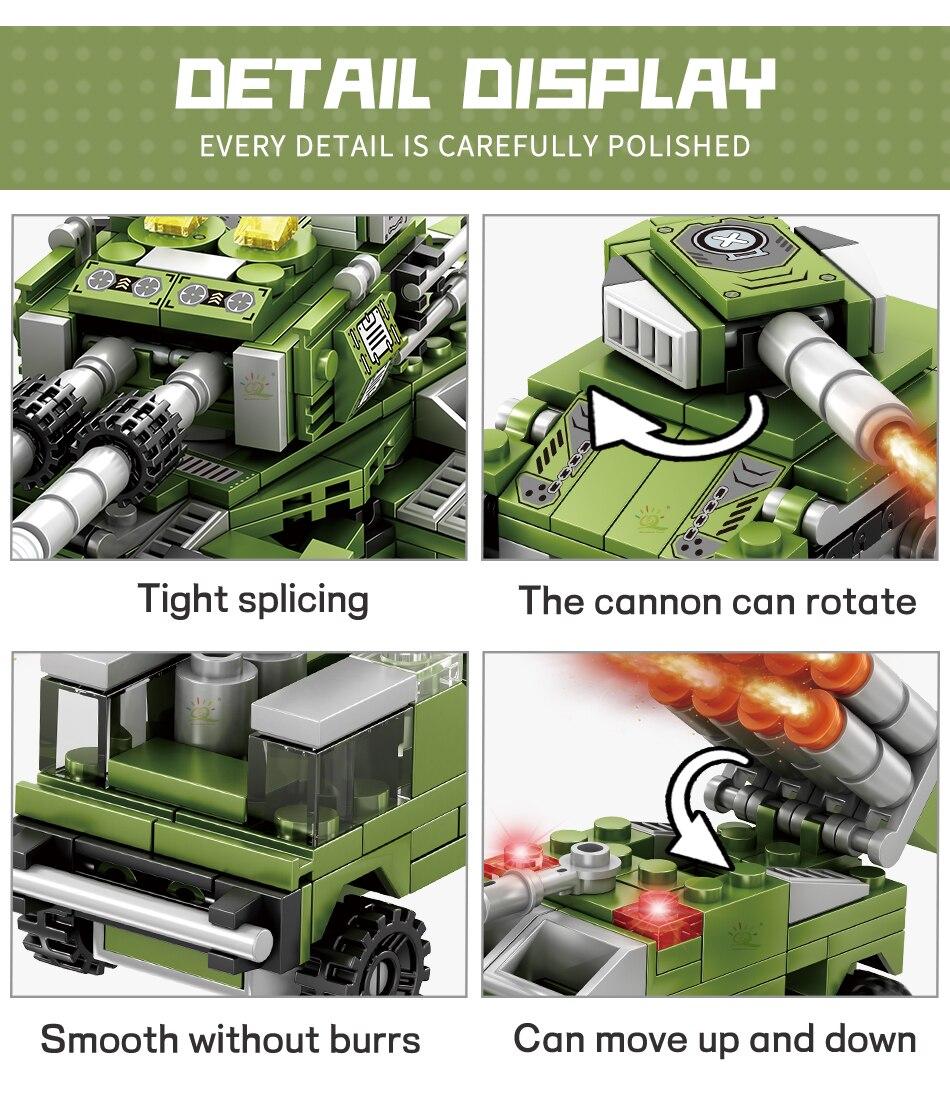 """конструктор huiqibao """"военный танк"""", 8 в 1"""