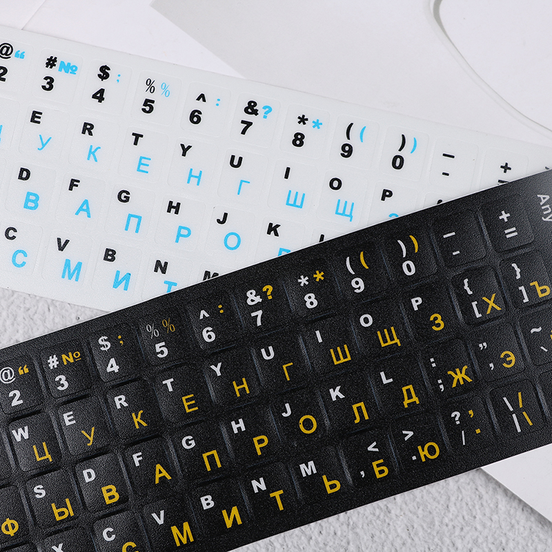 Standard Waterproof Russian Language Keyboard Stickers Layout with Button Letters Alphabet for Computer Keyboard Protective Film-0
