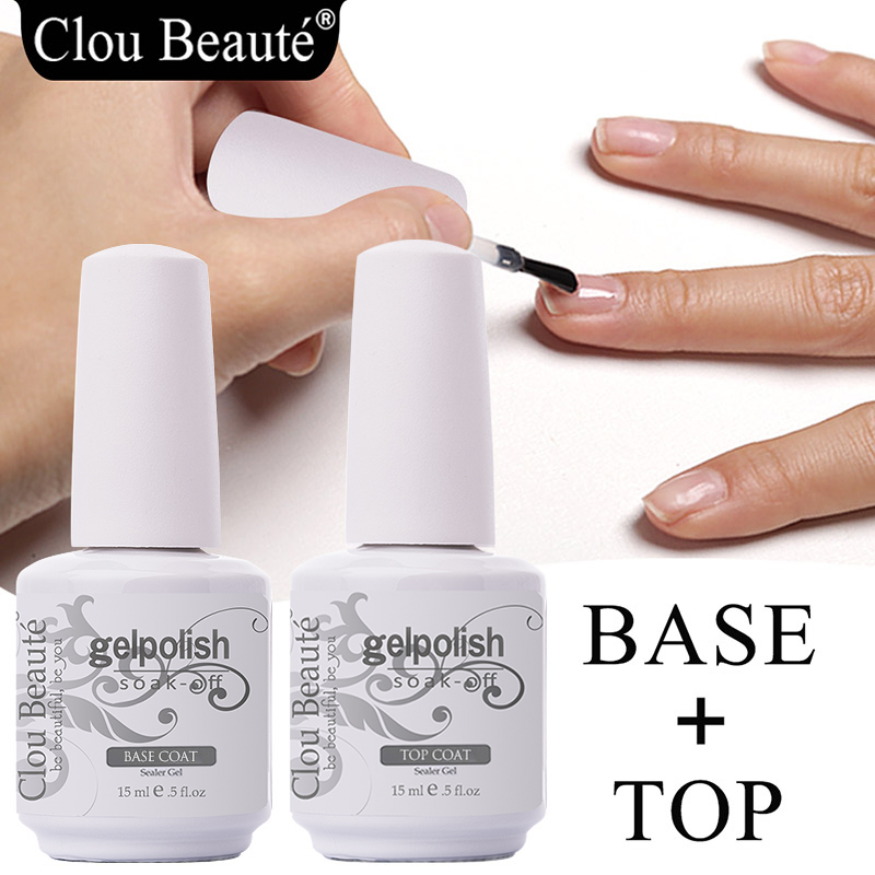 Clou Beaute Base And Top Coat Gel Nail Polish UV 15ml Transparent Soak Off Primer Gel Polish Long Lasting Gel Lacquer Nail Art