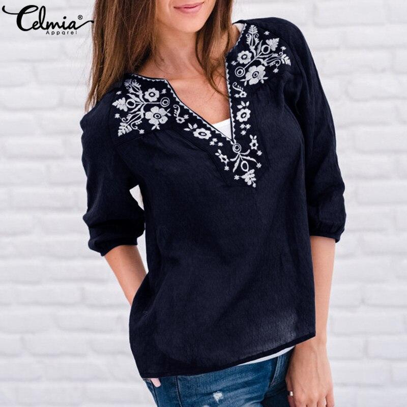 Top Fashion 2019 Celmia Women Vintage Printed Blouses Summer Female Clothes Sexy V-neck Casual Loose Shirts Blusas Femininas 5XL