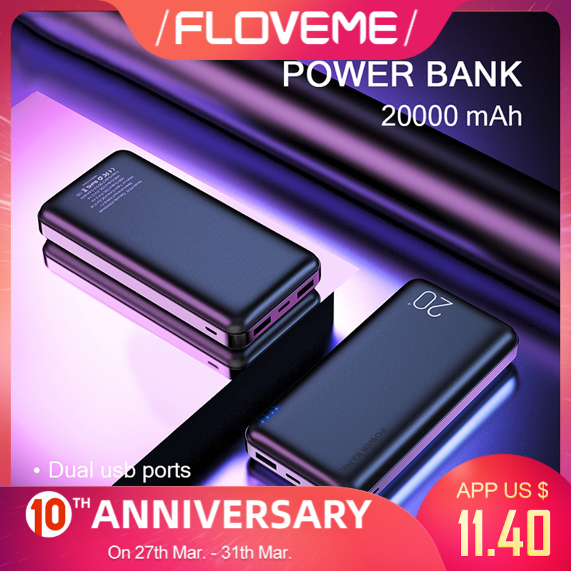 FLOVEME <font><b>Power</b></font> <font><b>Bank</b></font> 20000mAh Portable Charging Poverbank Mobile Phone External Battery Charger Powerbank <font><b>20000</b></font> mAh for Xiaomi Mi image