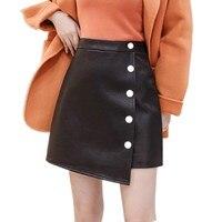 2019 WomenAutumn Winter High Waist PU leather Skirt Fashion Female Single breasted Short Skirt Skirts Women S437