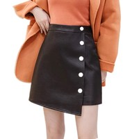 2019 WomenAutumn Winter High Waist PU leather Skirt Fashion Female Single breasted Short Skirt Skirts Women S437