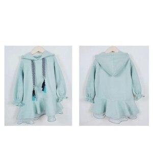 Image 2 - Детское платье с длинными рукавами для девочек весенне осенние толстовки с капюшоном, платья свитеры хлопковая однотонная свободная одежда для подростков 10 12 лет, Новинка