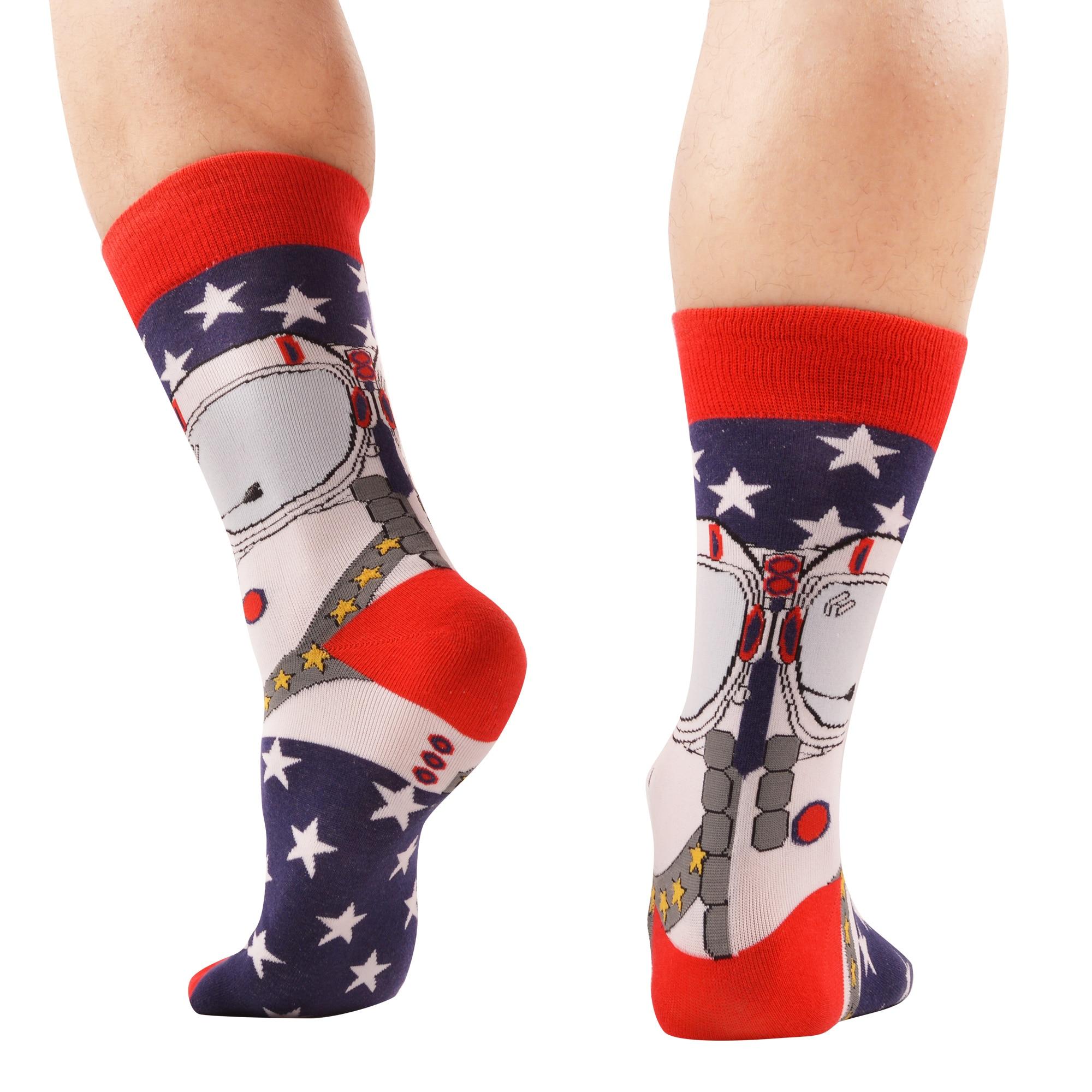 SANZETTI Brand 2019 New Happy Men Socks Bright Colorful Space Animal Novelty Pattern Causal Dress Socks Funny Gift Wedding Socks