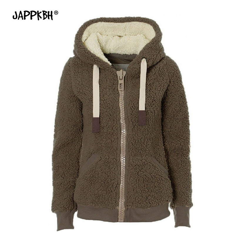 Autumn Winter Faux Fur Coat Women 2019 Casual Hoodies Thick Warm Teddy Coat Female Plus Size Zipper Long Sleeve Fur Jacket Black