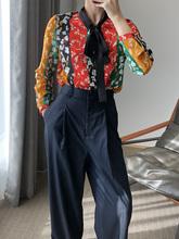 100 naturalny jedwab bluzki biuro drukuj z długim rękawem prawdziwa jedwabna kokardka bluzka z wiązaniem topy dla kobiet ubranie biurowe koszule bluzki do pracy tanie tanio Jedwabiu REGULAR Floral Kobiety Pełna OL natural silk blouses Stójka Łuk Suknem Pani urząd 100 natural silk blouse