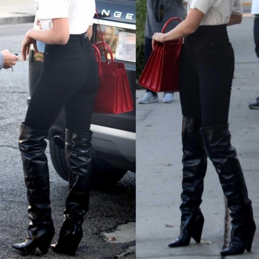 Siyah Deri Uyluk Yüksek Çizmeler Kadın 9CM Yüksek Topuk Diz Çizmeler Kadın Motosiklet Çizme Kar Kışlık Botlar kürk Ayakkabı
