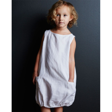 2020 cotton linen for kids girls dress sleeveless O-neck tube pockets dress for baby girls TZ13