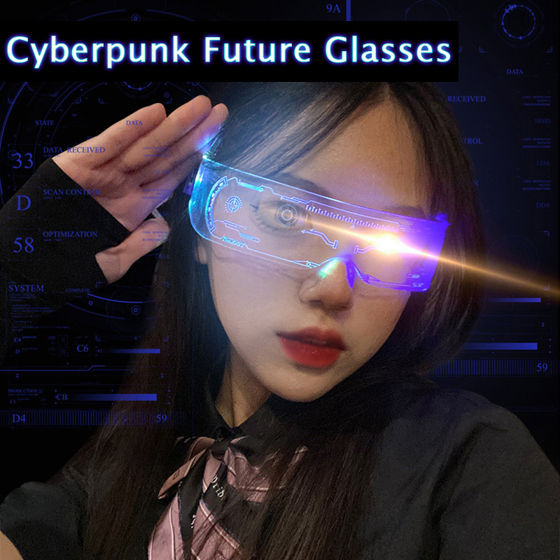 Cyberpunk Glasses Led Illuminated 7 Colors 4 Modes Rechargeable Goggle Punk style Glasses for Women Men Technology Future Style