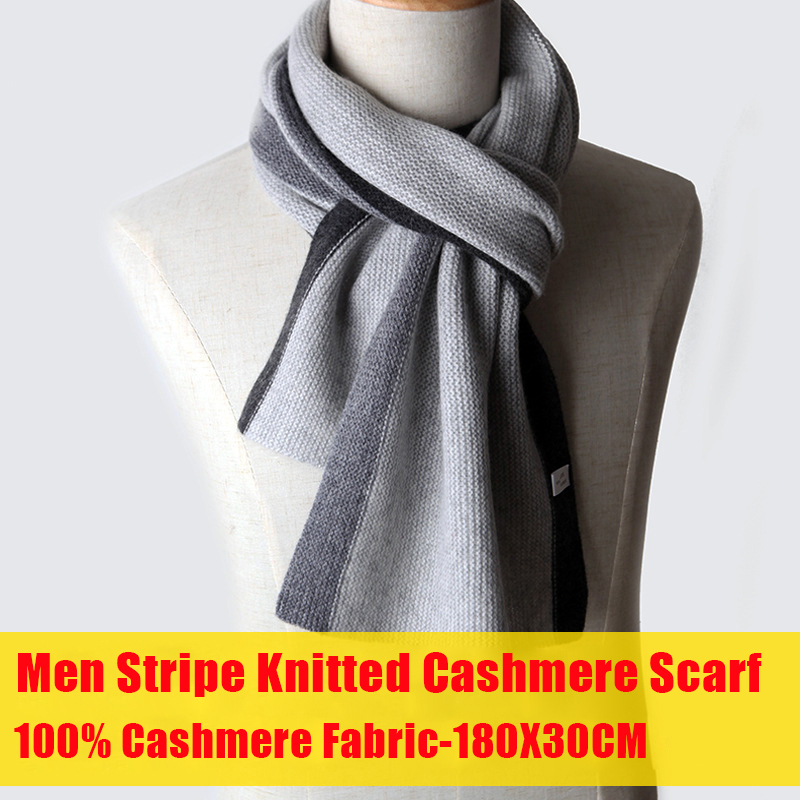 Knitted 100% Cashmere Scarf for Men Shawls and Wraps for 180X30CM Stripe Winter Scarf Cashmere Thick Luxury Shawl Cashmere