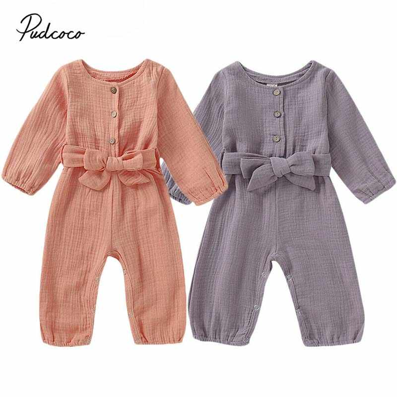 2019 Baby Spring Autumn Clothing Newborn Baby Girls Linen Romper Cotton Linen Jumpsuit Long Sleeve Playsuit Clothes Outfits