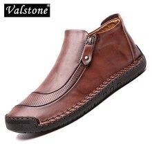 Valstone Slip on Moccasins bahar erkekler rahat deri ayakkabı peluş sıcak sneakers fermuar orta topuklu botlar sokak ayakkabı artı boyutu 38 48