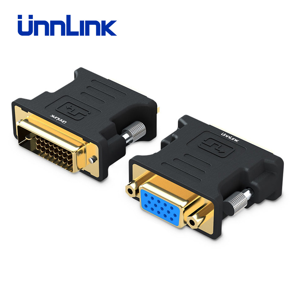 Unnlink DVI To VGA Converter Active DVI D(24+1) DVI I(24+5) To D Sub VGA Adapter FHD 1080P@60Hz For PC Computer Mainboard DVI