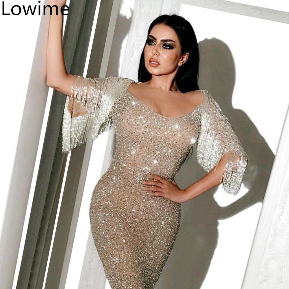 Plus Size Dubai Silver Glitter Prom Dresses Long Sexy Mermaid Arabic Abendkleider abiye gece elbisesi Formal Evening vestidos-in Prom Dresses from Weddings & Events    1