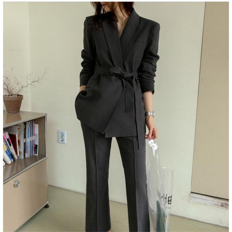 HziriP 2020 Elegant Pant 2 Piece Set Office Lady Autumn Women Work Wear All Match OL Style Solid Blazer +Plus Trouser Suits