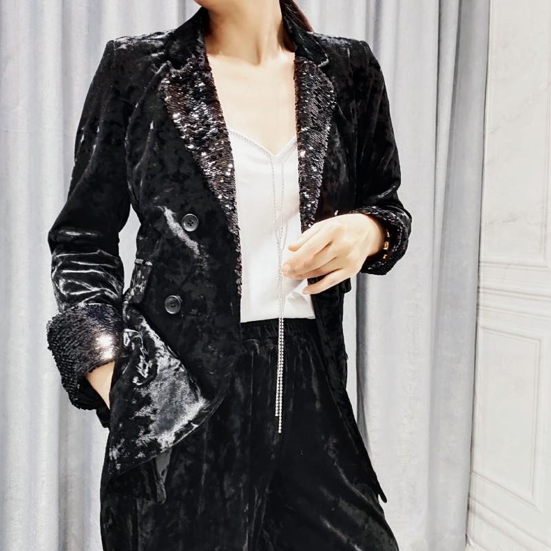 Fashion Sequins Womens Blazer Wide Leg Trousers Two Piece Set Elegant Lapel Double Breasted Office Ladies Formal Suit Jacket