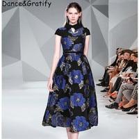 Super Quality 2019 New Vintage Jacquard Floral Pattern Runway Dresses Elegant Long Midi Party Dress Faux Leather Belt
